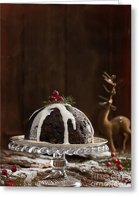Christmas Pudding With Cream Greeting Card by Amanda Elwell