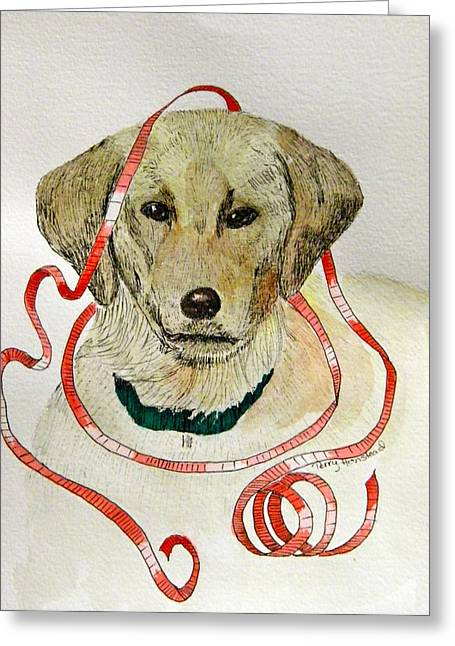 Christmas Puppy Greeting Card by Terry Honstead