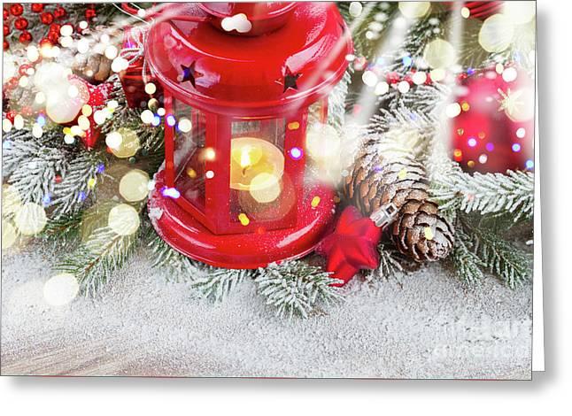 Christmas Red Lantern  Greeting Card
