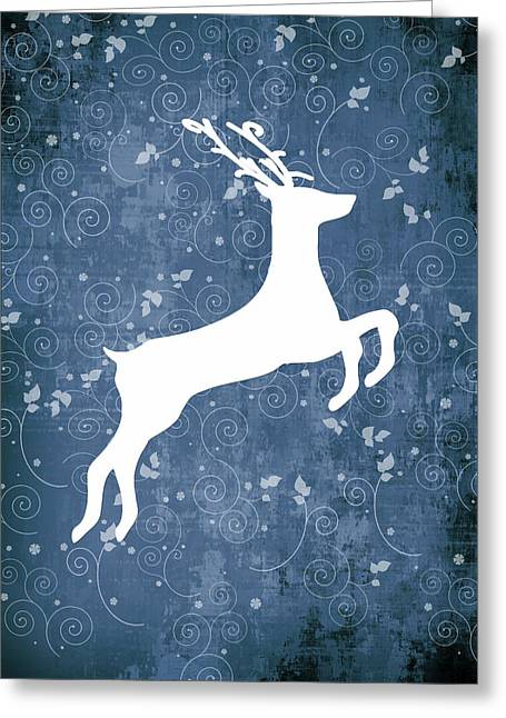 Christmas Reindeer On Blue No Text Greeting Card