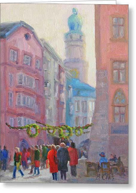 Christmas Shopping - Innsbruck Greeting Card by Bunny Oliver