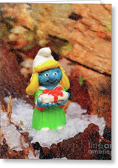 Christmas Smurfette Greeting Card