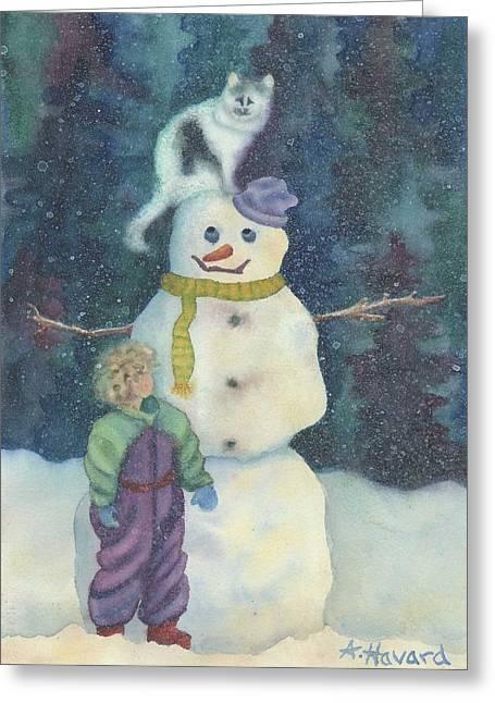 Christmas Snowman Greeting Card by Anne Havard