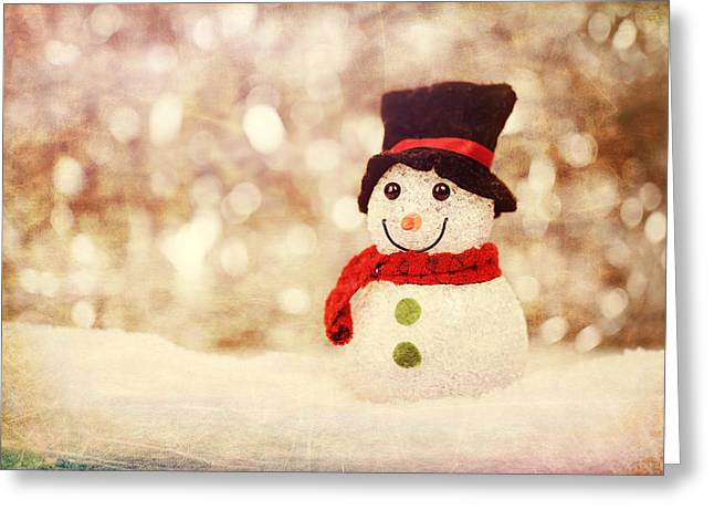 Greeting Card featuring the photograph Christmas Snowman by Bellesouth Studio