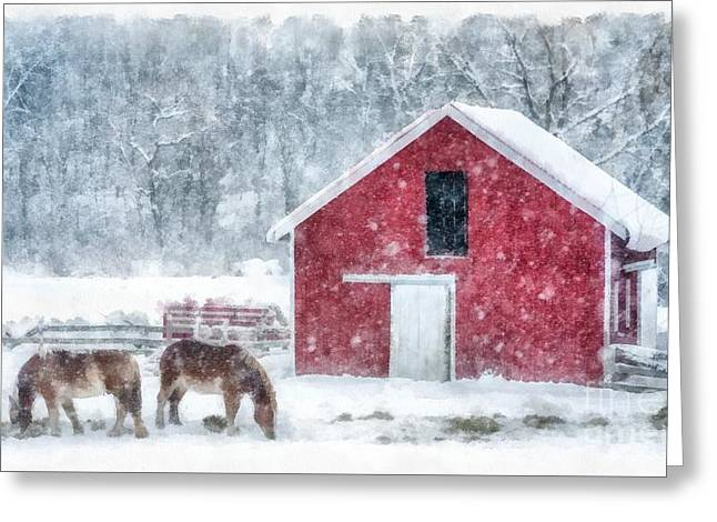 Christmas Snowstorm Vermont Watercolor Greeting Card by Edward Fielding