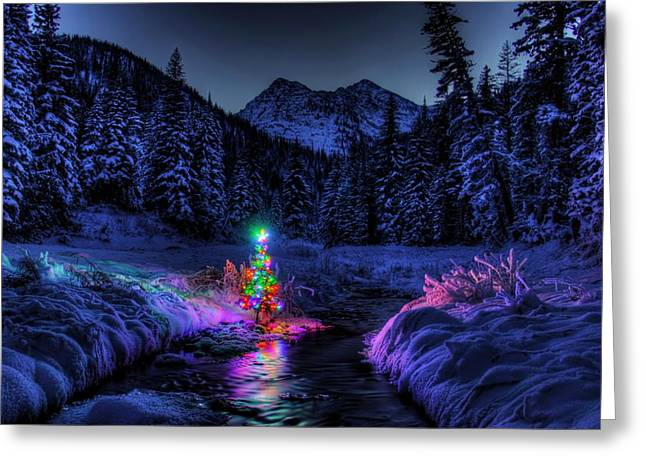 Christmas Spirit In Snowshoe Creek Greeting Card