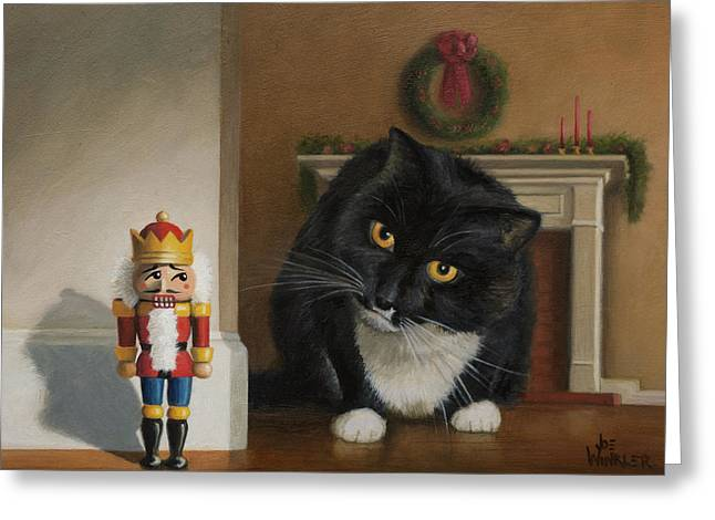 Greeting Card featuring the painting Christmas Stalking by Joe Winkler