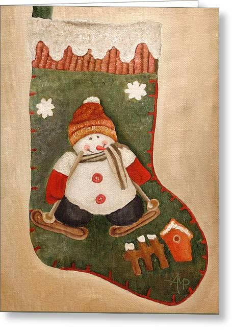 Christmas Stocking Greeting Card by Angeles M Pomata
