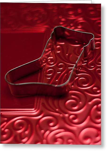 Christmas Stocking On Red No Text  Greeting Card by Maggie Terlecki