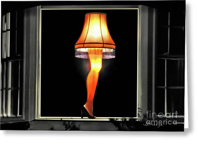 Christmas Story Leg Lamp Greeting Card by Jennie Breeze