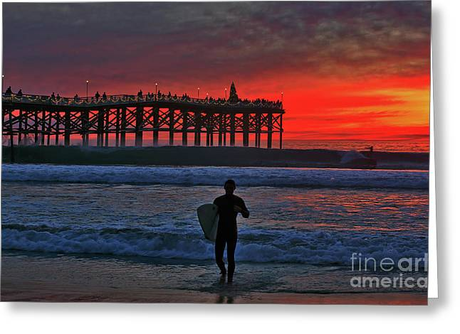 Christmas Surfer Sunset Greeting Card