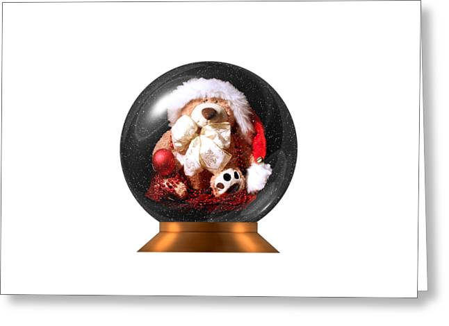 Christmas Teddy Snow Globe On A Transparent Background Greeting Card by Terri Waters