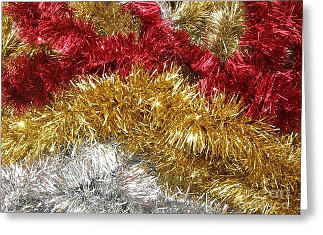 Christmas Tinsel Greeting Card by Deborah Brewer