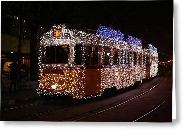 Christmas Tram Greeting Card by Eye Contact