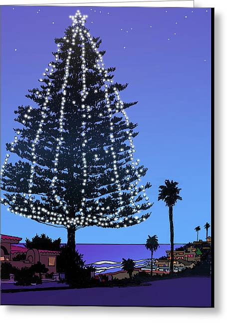 Christmas Tree At Moonlight Beach Encinitas, California Greeting Card by Mary Helmreich