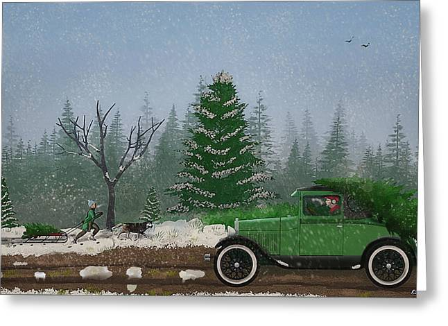 Christmas Tree Hunters Greeting Card by Ken Morris