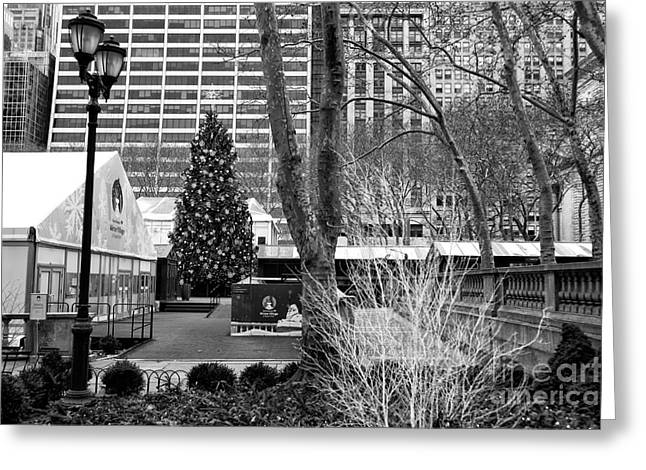 Christmas Tree In Bryant Park Greeting Card
