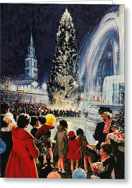 Christmas Tree In Trafalgar Square, London Greeting Card by English School