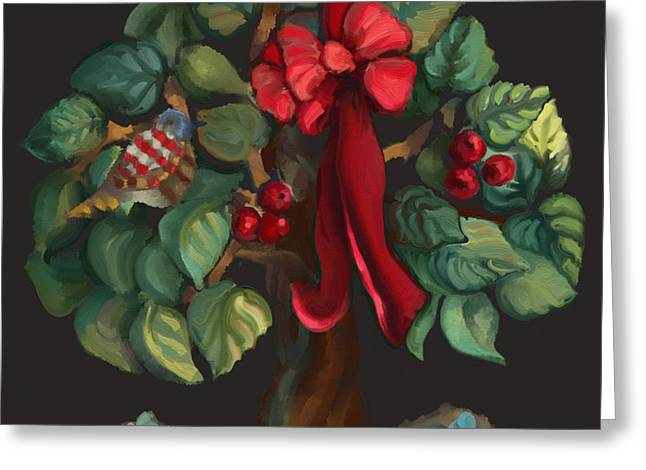 Christmas Tree Of Life Greeting Card by Carrie Joy Byrnes