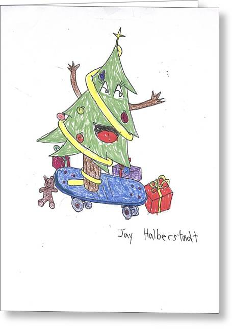 Christmas Tree On Skateboard Greeting Card