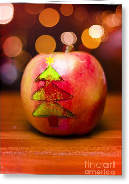 Christmas Tree Painted On Apple Decoration Greeting Card by Jorgo Photography - Wall Art Gallery