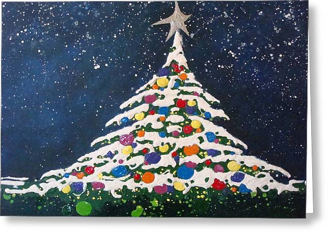 Christmas Tree Greeting Card by Paula Weber