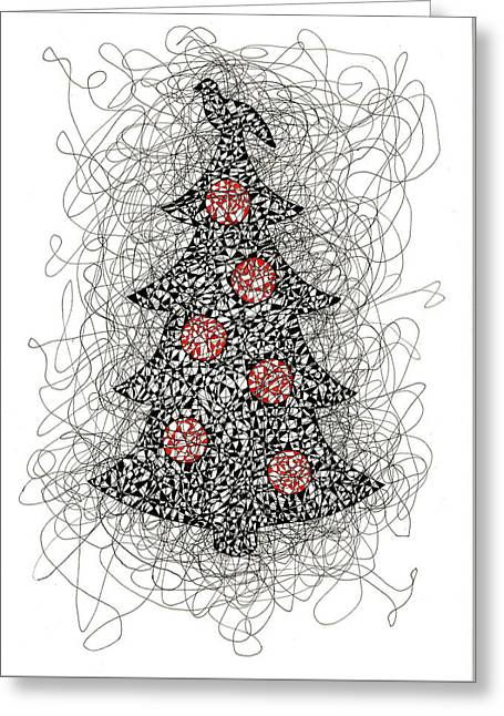 Christmas Tree Pen And Ink Drawing Greeting Card