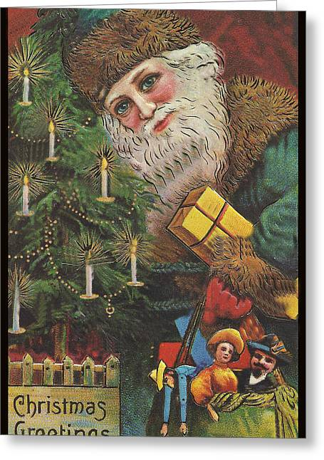 Christmas Tree Santa Greeting Card by Unknown