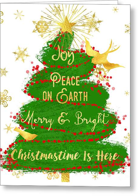 Christmas Tree Sentiment Art, Peace On Earth, Joy, Gold Star Greeting Card