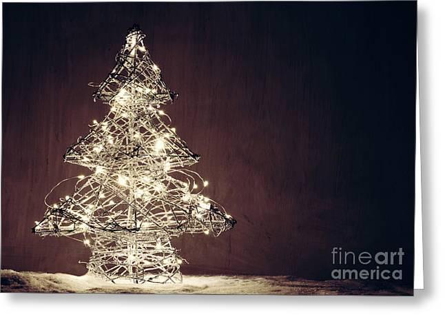 Christmas Tree Shape Made Of Lights. Greeting Card by Michal Bednarek