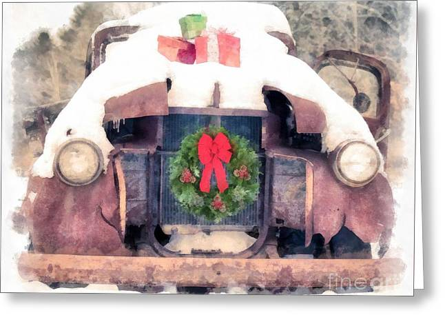 Christmas Truck Greeting Card by Edward Fielding