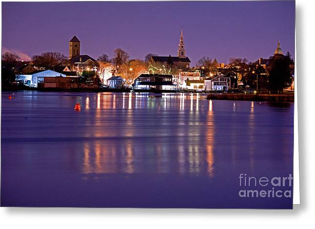 Christmas Waterfront Greeting Card by Butch Lombardi