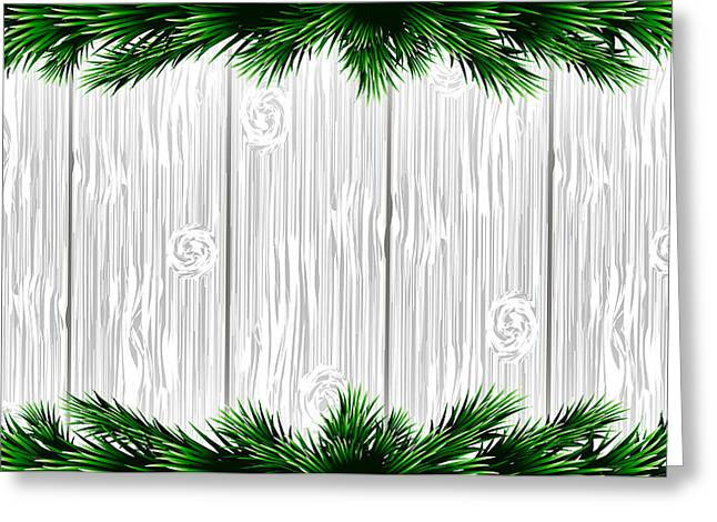 Christmas White Wooden Background With Green Fir Branches. Vector Illustration Greeting Card