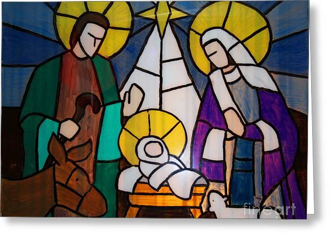 Christmas Window By George Wood Greeting Card