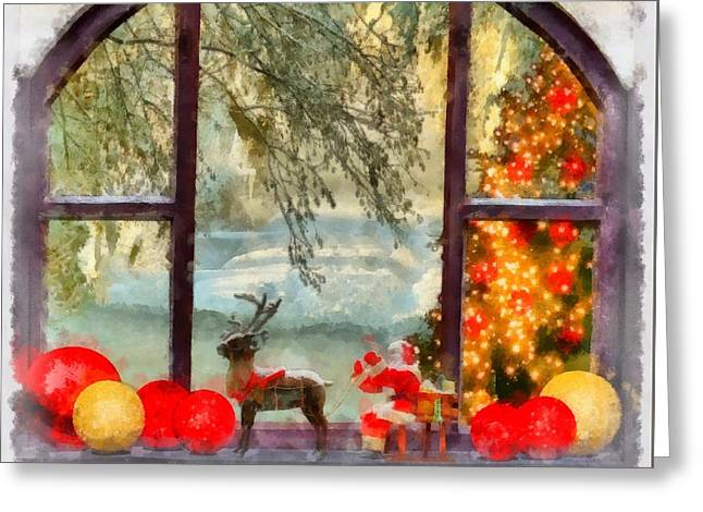 Christmas Window Greeting Card by Esoterica Art Agency