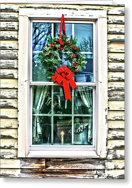Christmas Window Greeting Card by Sandy Moulder