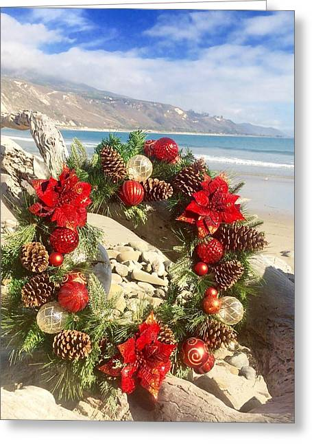 Christmas Wreath At The Beach Greeting Card by Sharon and Kailey Sayre