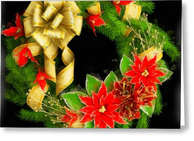 Christmas Wreath Greeting Card by Esoterica Art Agency