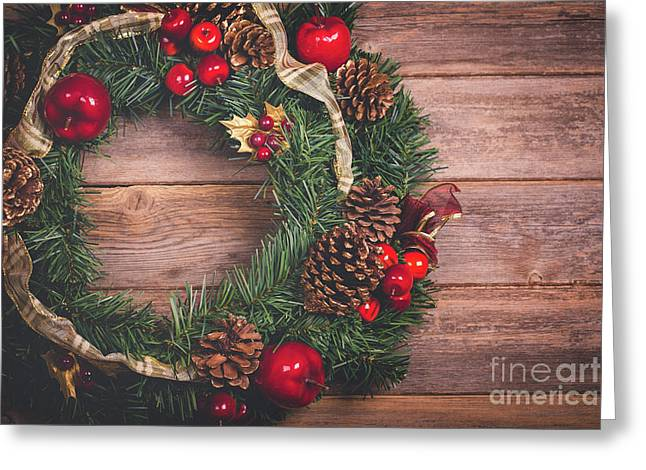 Christmas Wreath  Greeting Card by Jane Rix