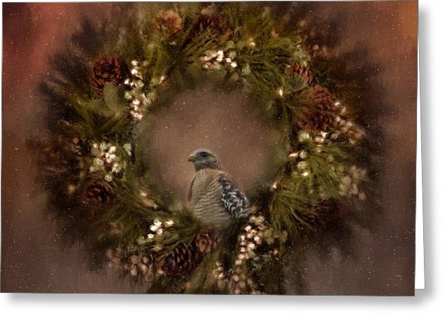 Christmas Wreath Greeting Card by Kim Hojnacki