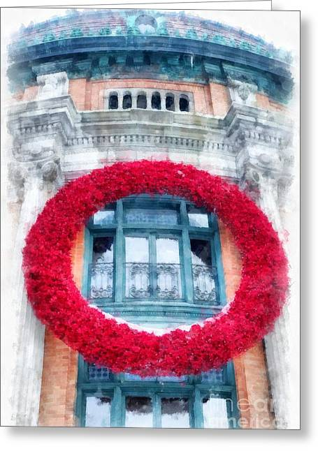 Christmas Wreath Old Quebec City Greeting Card