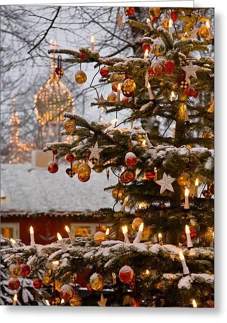 Copenhagen Denmark Greeting Cards - Christmastime At Tivoli Gardens Greeting Card by Keenpress