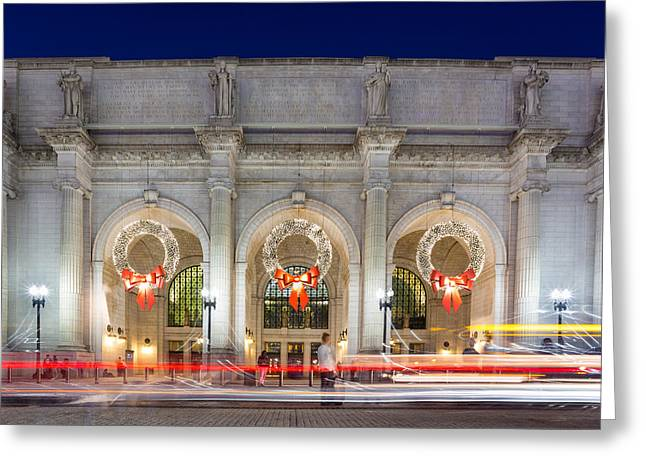 Christmastime At Union Station Greeting Card by Robert Davis