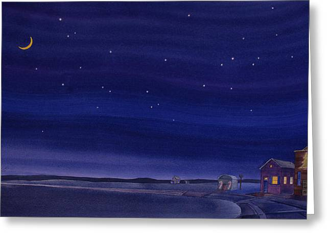 Greeting Card featuring the painting Christmastime In Prairie Town by Scott Kirby