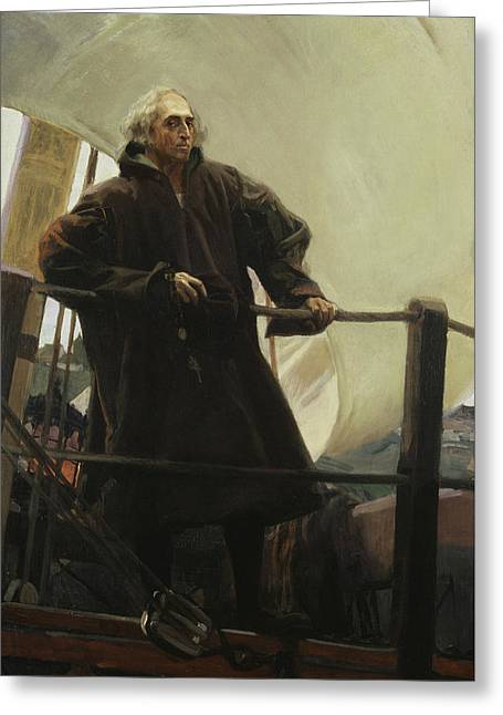 Christopher Columbus Leaving Palos Greeting Card by Joaquin Sorolla