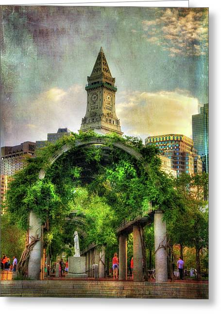 Christopher Columbus Park And The Custom House - Boston Greeting Card by Joann Vitali