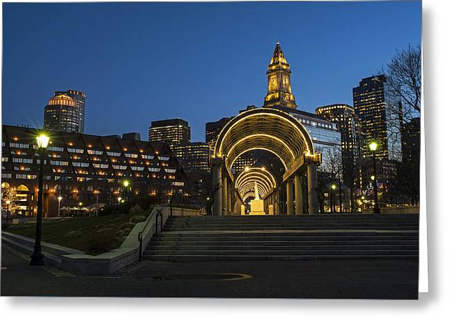 Christopher Columbus Park Boston Ma Trellis Custom House Greeting Card