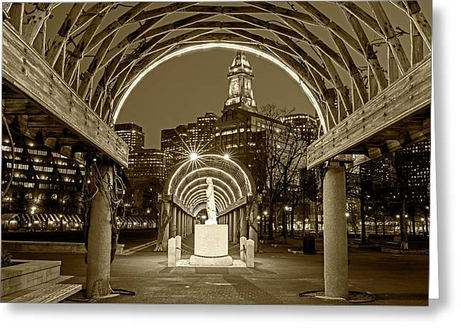 Christopher Columbus Park Boston Ma Trellis Statue Sepia Greeting Card by Toby McGuire