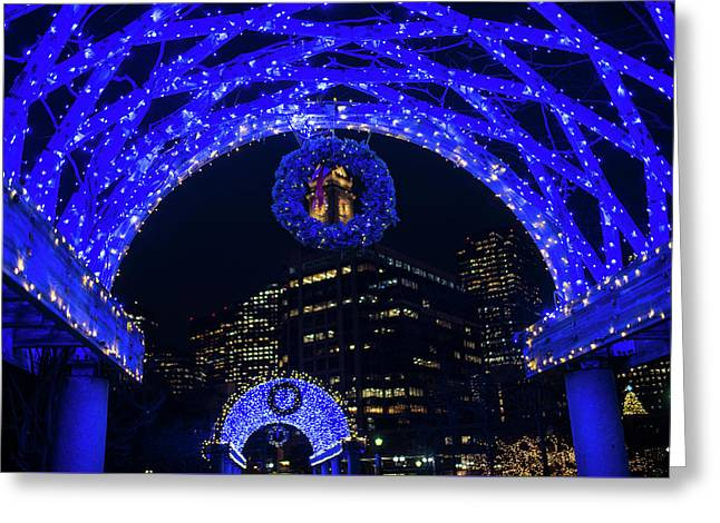 Christopher Columbus Park Trellis Lit Up For Christmas Boston Ma Greeting Card