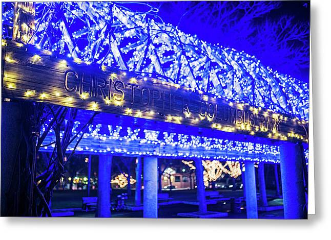 Christopher Columbus Park Trellis Lit Up For Christmas Boston Ma Xmas Greeting Card by Toby McGuire